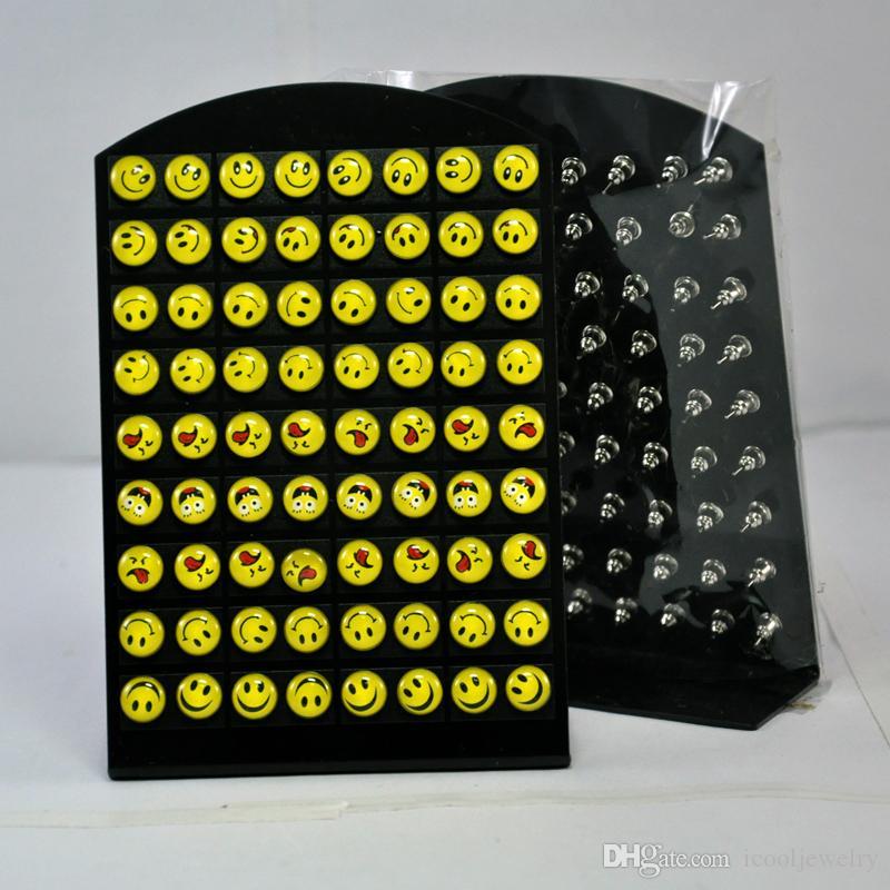 뜨거운 판매 미소 이모티콘 수지 패턴 스테인레스 스틸 스터드 귀걸이 남자 보석 쥬얼리 대량 세트 무료 배송 RL083