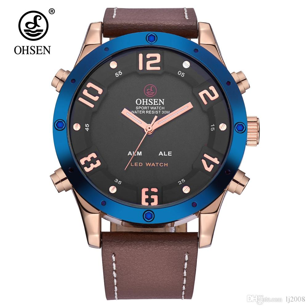 28cb015f2de Fashion OHSEN Quartz Digital Watch Men Male Business Watch Waterproof  Leather Band LED Gold Blue Electronic Wristwatches Relogio