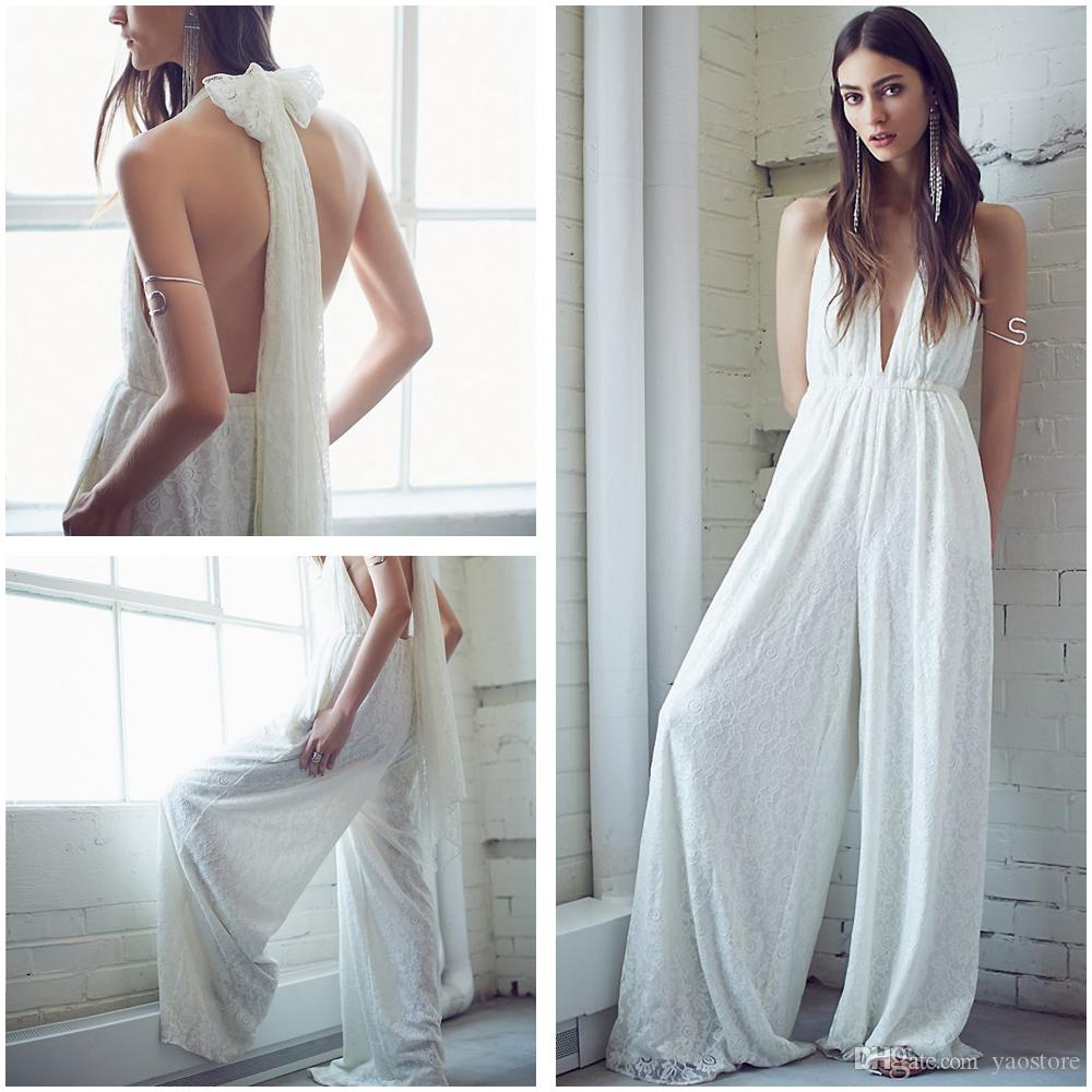Discount Sexy Plunging V Neck Jumpsuits Wedding Dresses