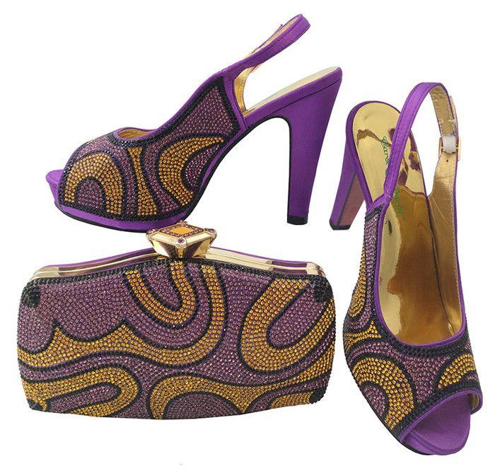 Hot sale high heel 12CM african purple shoes match handbag set with rhinestones women pumps and bag for dress BCH-28