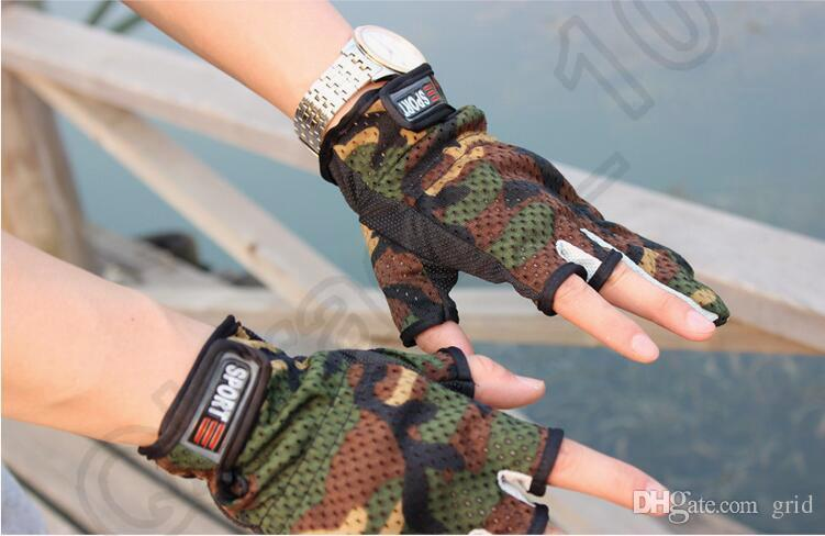 New Durable High Quality Fishing Hunting Gloves Pack 3 Cut Finger Anti Slip Green Camo Camouflage Outdoor Sports Glove Free Size
