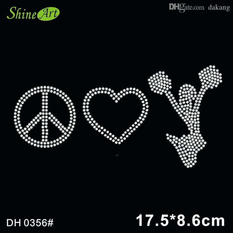 Peace, heart and cheer rhinestone iron on crystal transfers, crystal bling transfer design DIY DH0356#