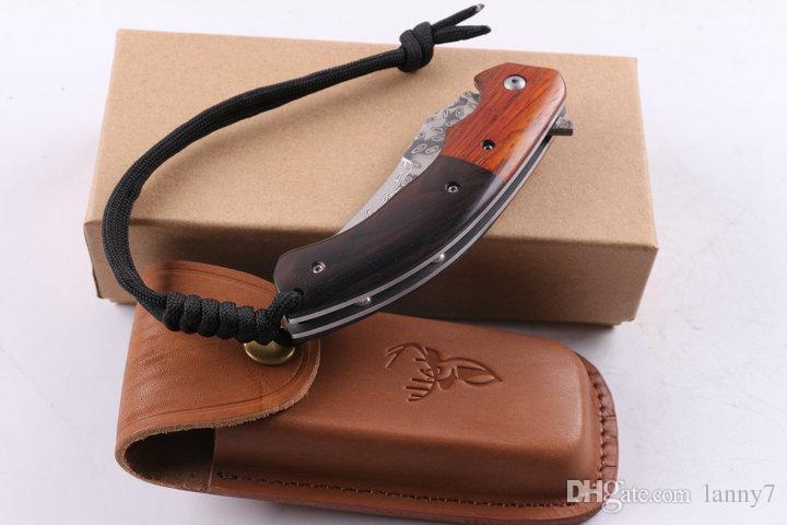 Promtoion VG10 Damascus Steel Flipper Folding Blade Knife 57HRC Blade Steel Wood Handle EDC Pocket Knife Outdoor Survival Tactical Knives