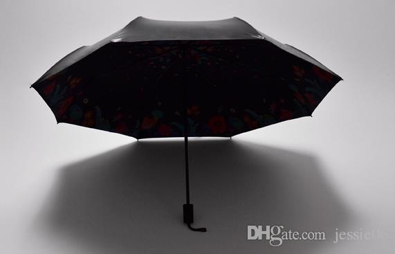 50+反紫外線保護傘青い空3折りたたみパラソル3 d花花晴れ、雨の傘のカラフルな雨の歯車