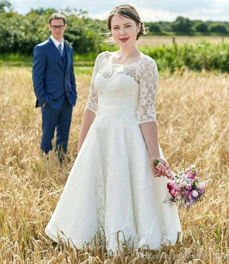 fb128b4cda0b6 Discount Vintage 2017 Plus Size Country Wedding Dresses Boat Neck Half  Sleeves Zipper A Line Tea Length Vintage Lace Bridal Gowns With Back Bow  Short A Line ...