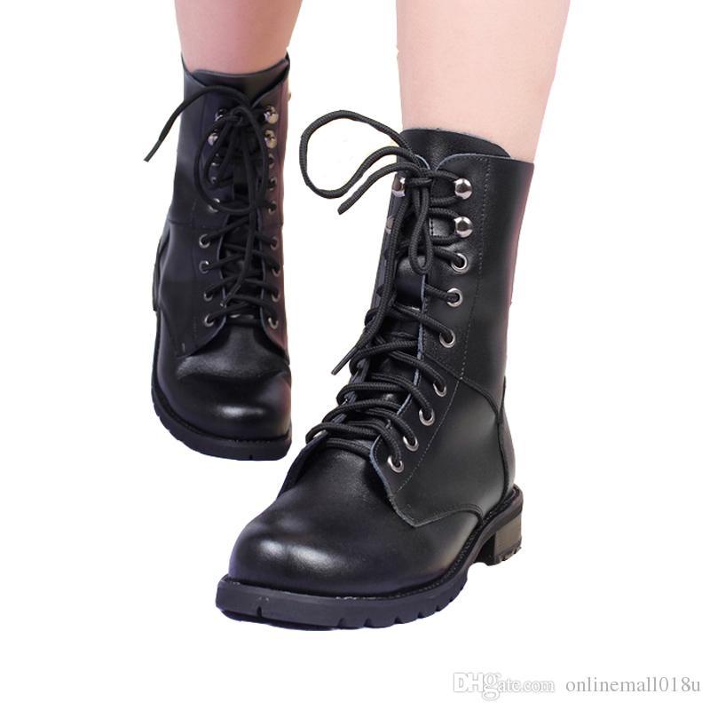 Compre Otoño Invierno Negro Con Cordones Botas Militares Mujeres Mujeres Militares Pu d7a8d3