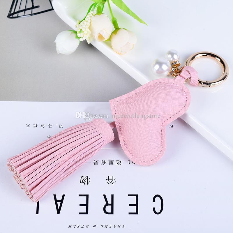 패션 PU 가죽 Tassels 하트 스타 래빗 금속 키 체인 Keyring Carabiner Keychains Charms Handbag Pendant