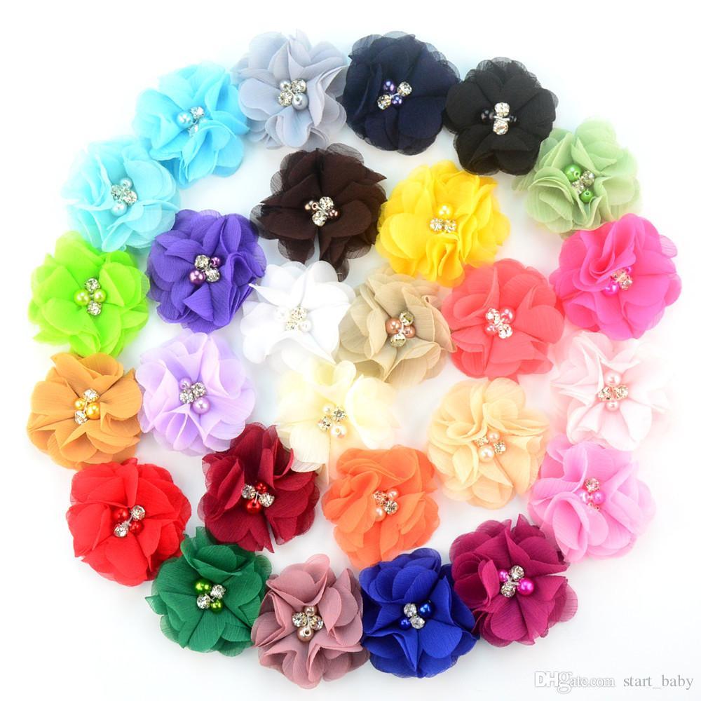 27 farben Chiffon Blumen Mit Perle Strass Zentrum Künstliche Blume Stoff Blumen Kinder Haarschmuck Baby Stirnbänder Blume