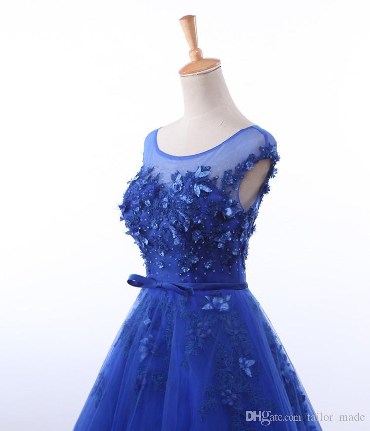 2019 eine Linie formale Abendkleid Appliques Scoop Neck Prom Kleider blau Stoff versandkostenfrei Tüll