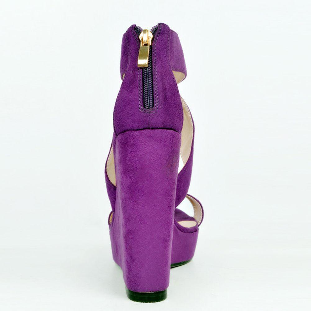 Zandina Womens Fashion Handmade 13cm Open-toe Cross Style High Wadge Heel Party Sandals Shoes Purple XD060