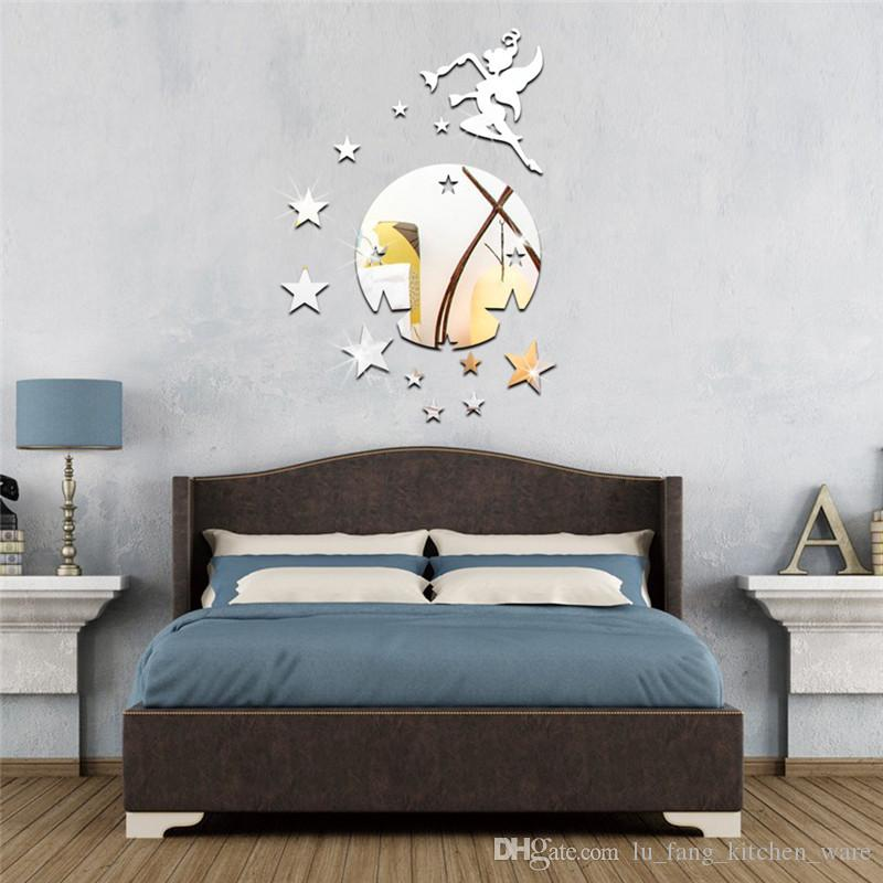 3D mirror wall stickers Acrylic Creative cute Fairy blowing stars Home Decor DIY Removable Decoration Stickers 2017 wholesale Free delivery
