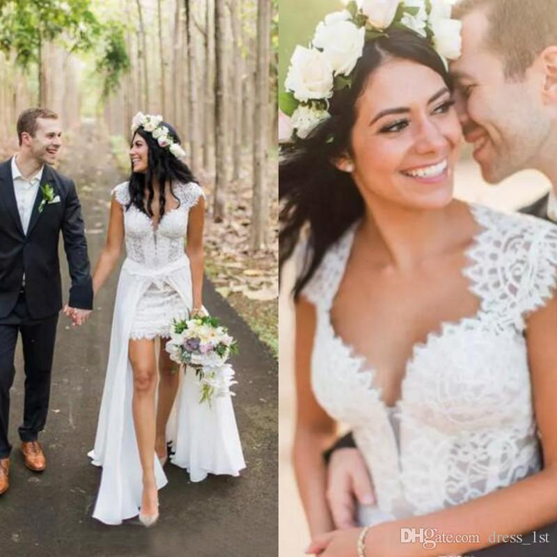 7971a27e94f Discount Bohemian Beach Overskirt Wedding Dress Sweetheart Neck Capped  Sleeve Open Back Sheah Short White Lace Tulle Custom Bridal Gown Celebrity  Wedding ...