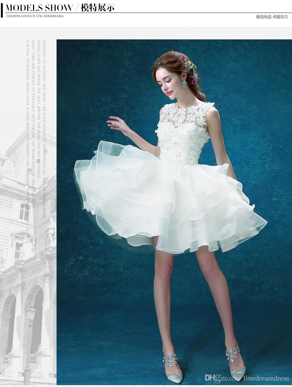2017 White Lace Beaded Party Dance Dresses Organza Layered A Line Short Wedding Dresses