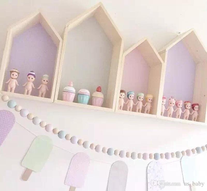 Enfants Belle Bois Maisons De Poupée Bébé Chambre Décoration Murale Maisons De Poupée Rack De Stockage Jouets Style Nordique Enfants Chambre Décor / Set 6 Couleurs