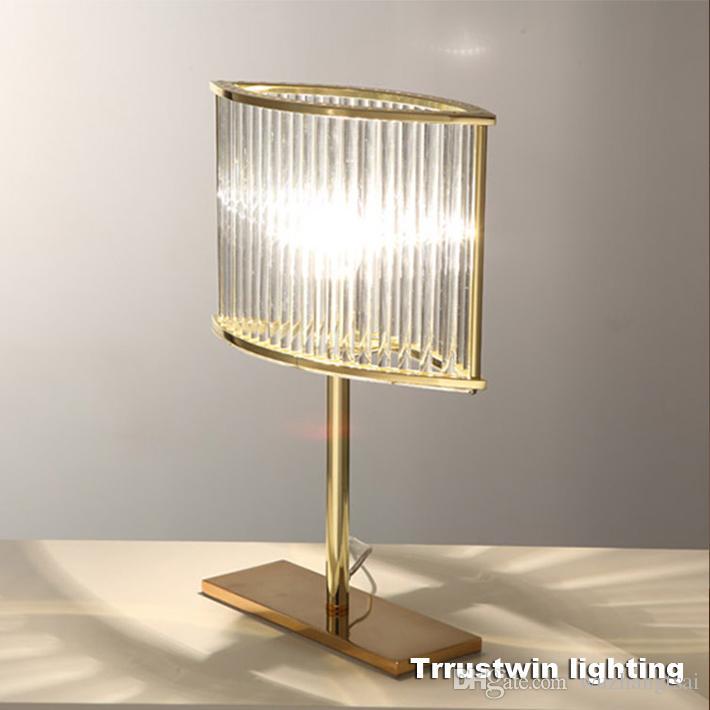 2019 L320 H420 W110mm Rh Family Hotel Glass Crystal Desk Light Led