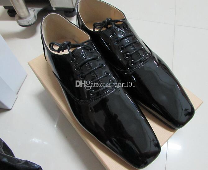 371ee681311 2017 New Men's Square Toe Red Bottom Oxfords Luxury Black Patent Leather  Dress Shoes Designer Business Wedding Shoes