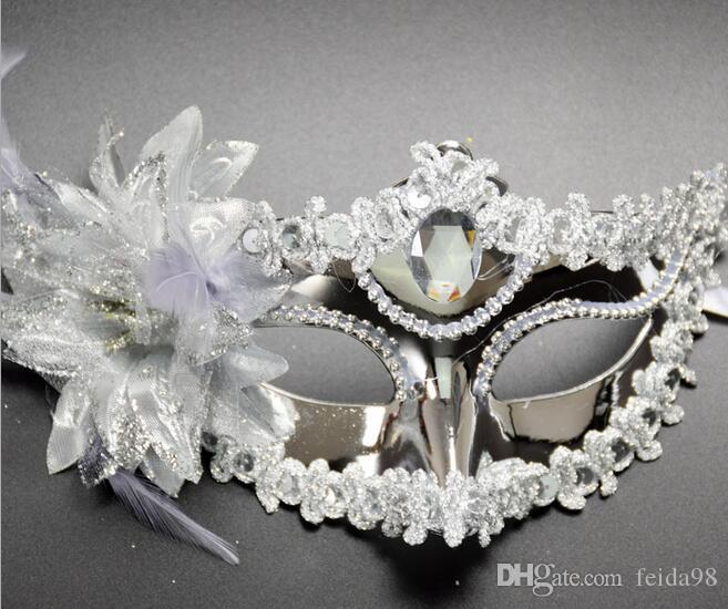 2017 Flower Side Venetian Masquerade Maschere Paillettes Halloween Ball Party Fancy Panno d'oro rivestito di San Valentino Giorno di compleanno di Natale G768