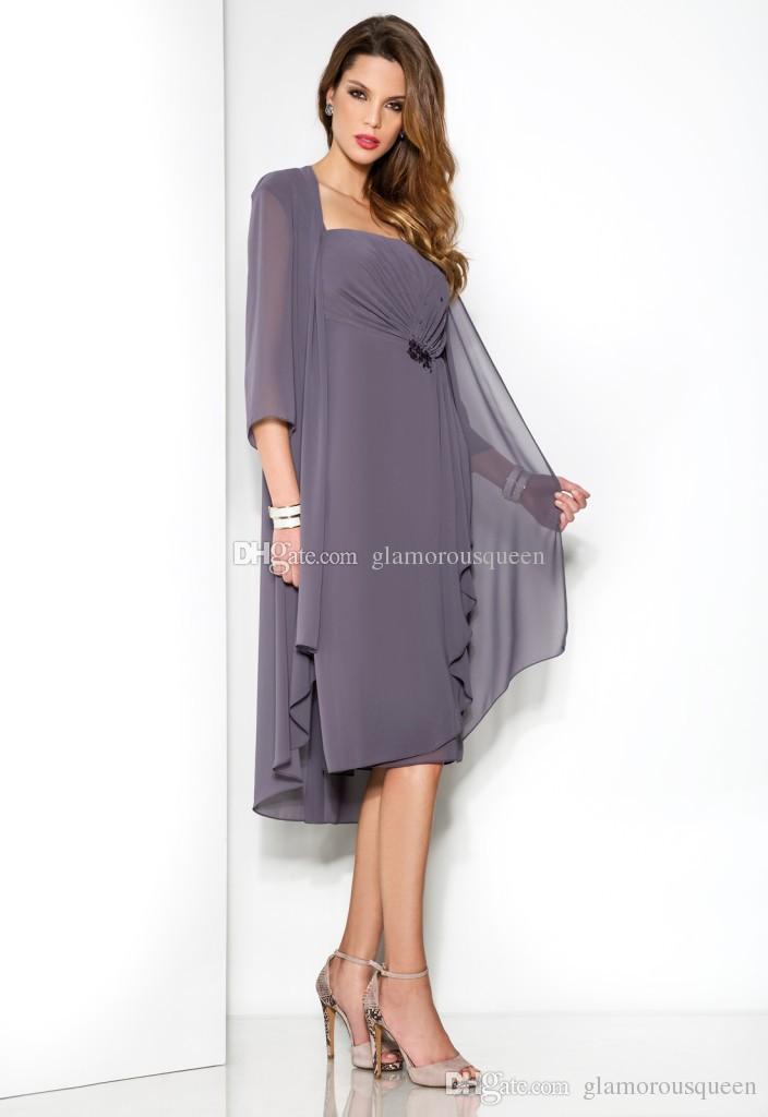 Elegante formale Mode Mutter der Braut Kleid mit Jacken neue gekräuselten Chiffon plus Größe Frauen Tee Länge Chiffon Sommerkleid