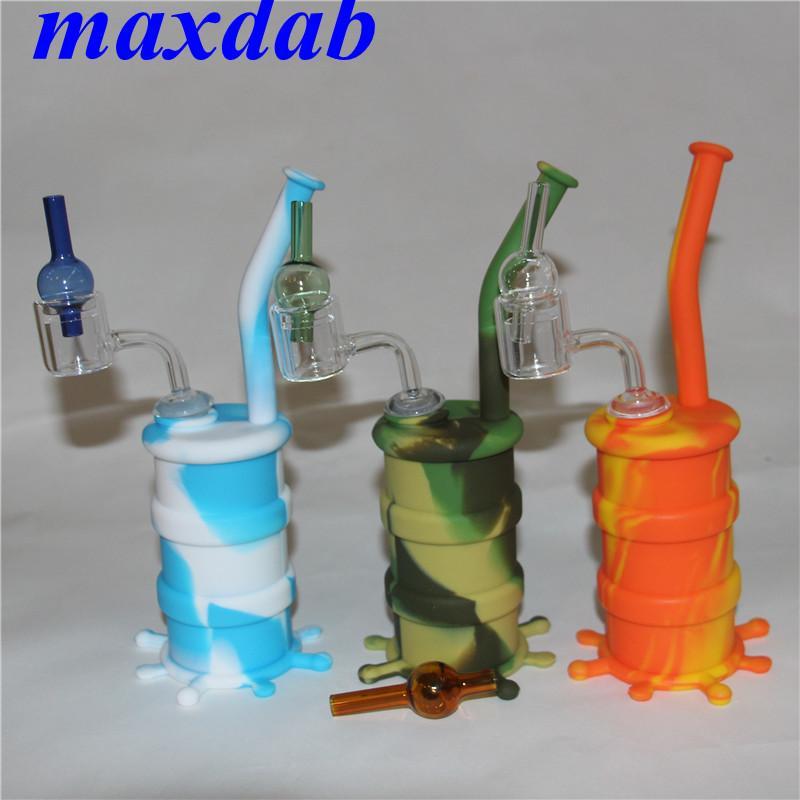 Silicone tubos de água hookah bongs com duplo tubo de quartzo Banger e vidro carboil tampa de silicone