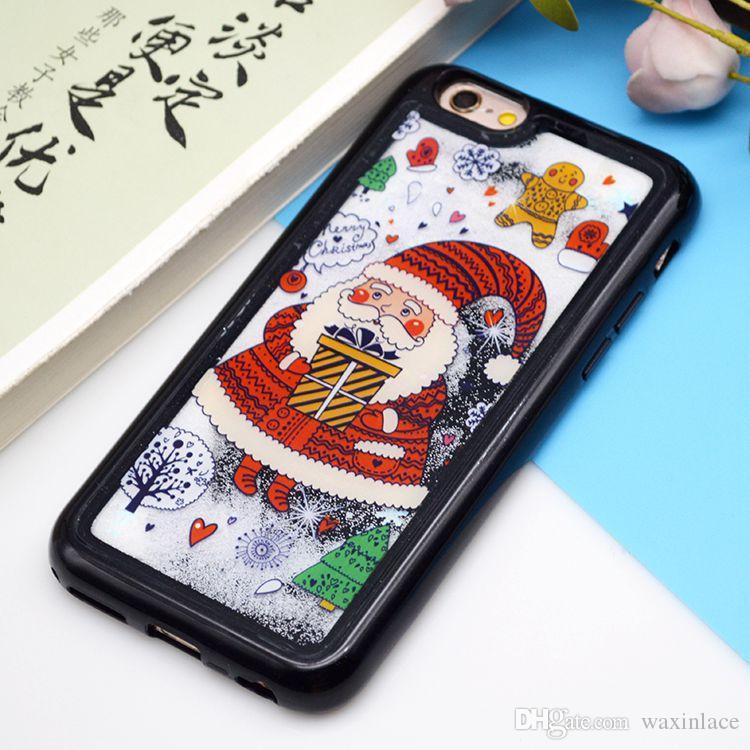 Caja de teléfono de Navidad al por mayor para iphone 8 casos Glitter Quicksand Dynamic Liquid Cover Regalos de Santa Claus