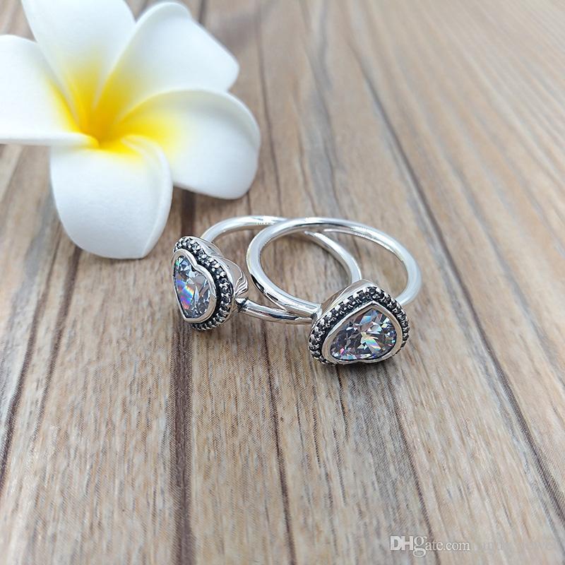 Autentico anelli in argento sterling 925 frizzante anello di amore adatto ai monili europei in stile Pandora 190929CZ