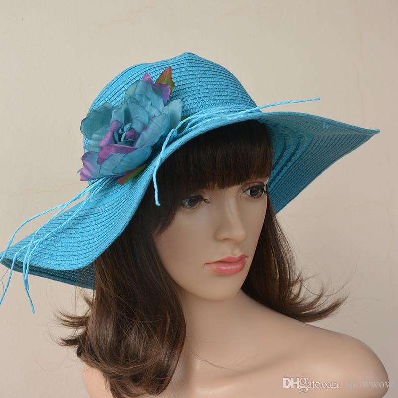 7391191059bb6 Womens Kentucky Derby False Blossom Straw Wide Brim Church Dress ...