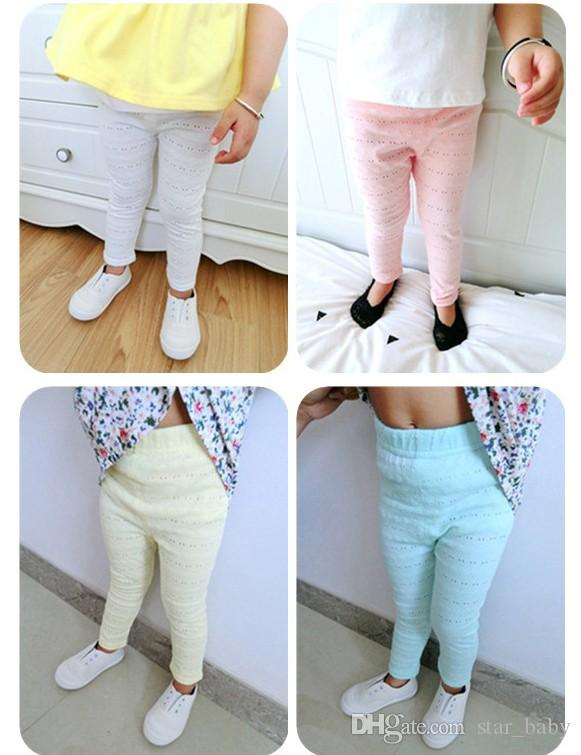 Spring Summer 2017 Hot Sell Pierced Thin Mosquito Candy Color Small Foot Leggings Girls Pants Cotton Children Clothing B4708