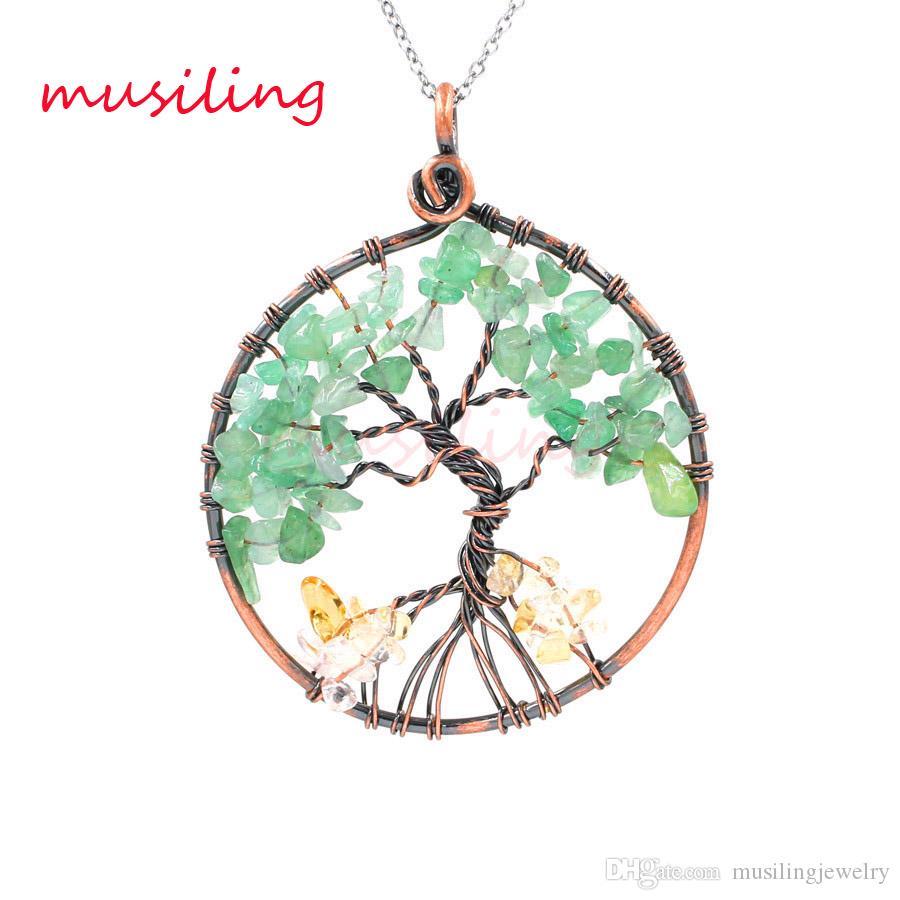 Pendenti con albero a forma di vita Collana a catena in pietra naturale Accessori in rame placcato vintage Accessori Moda europea Donna Uomo Gioielli Reiki Amuleto