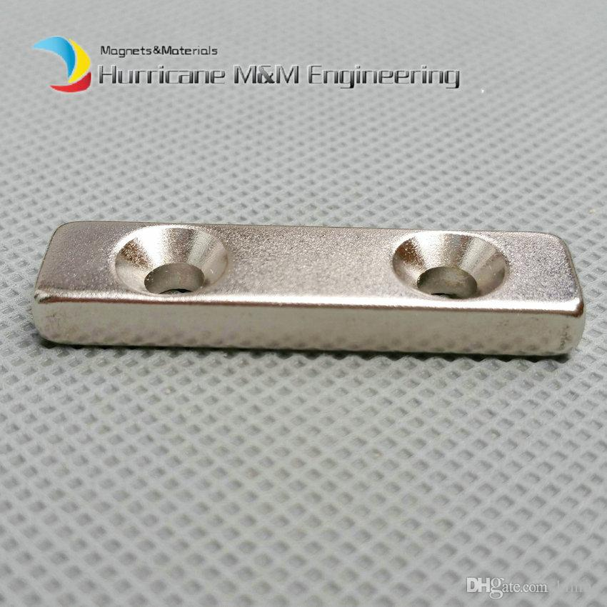 NdFeB Fix Magnet 40x10x5mm with 2 M5 Screw Countersunk Holes Block N42 Neodymium Rare Earth Permanent Magnet