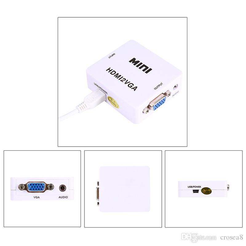 HDMI2VGA HD 1080P MINI HDMI a VGA Convertidor Con Adaptador Audio Video Box para XBOX 360 PSDVD