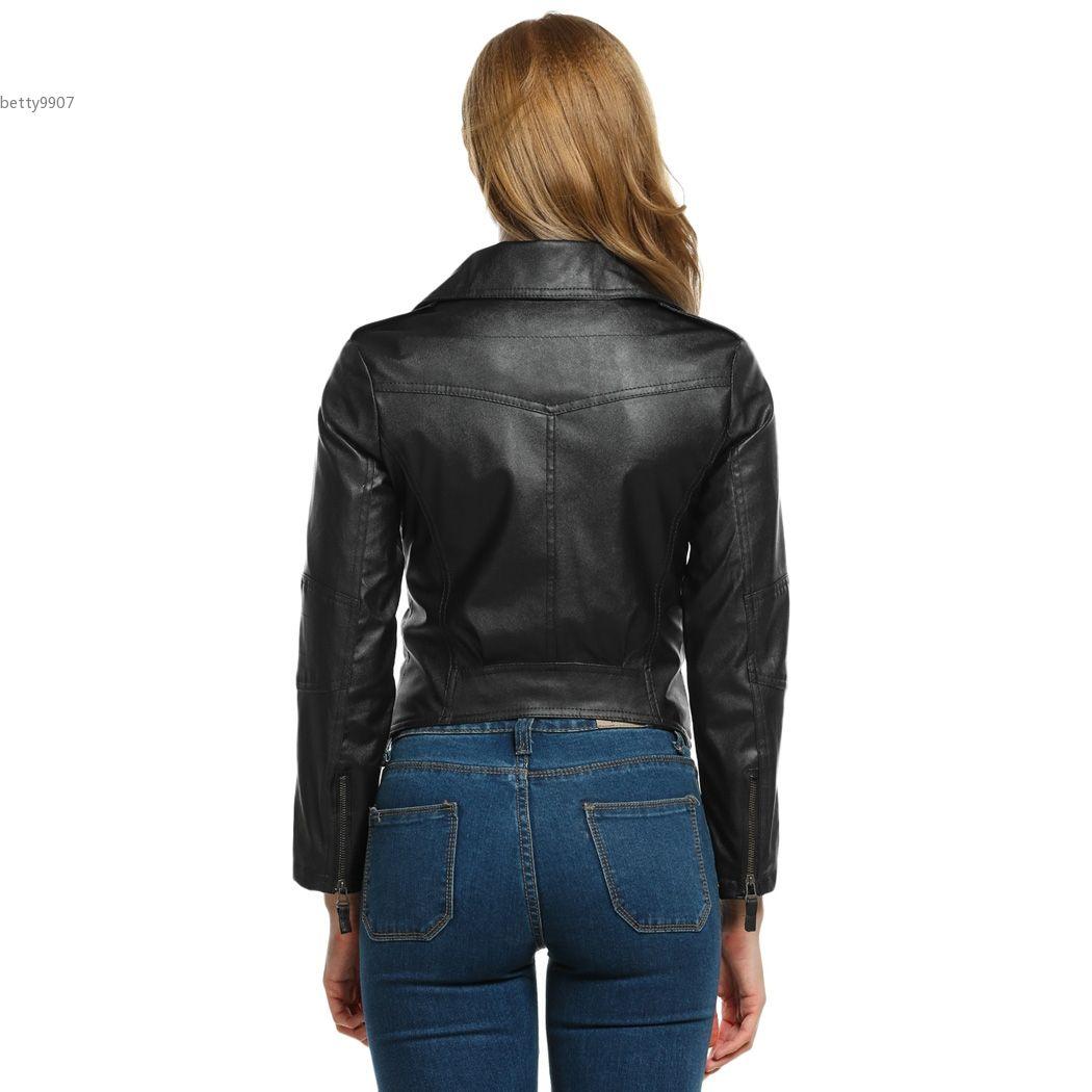 2118 deaigner winter jackets for women Motorcycle Leather Coat S-XXL size Diagonal Zipper Short Outerwear Coats Fashion clothing