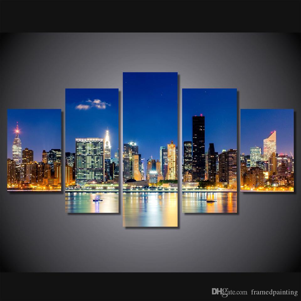 Compre / Marco Enmarcado Hd Impreso New York City Construcción De ...