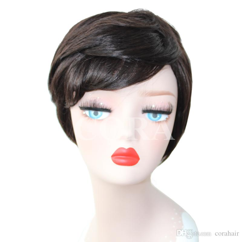 Top Grade 2017 Style Short Style natural black virgin 100% Brazilian Human Hair machine made none lace Wig