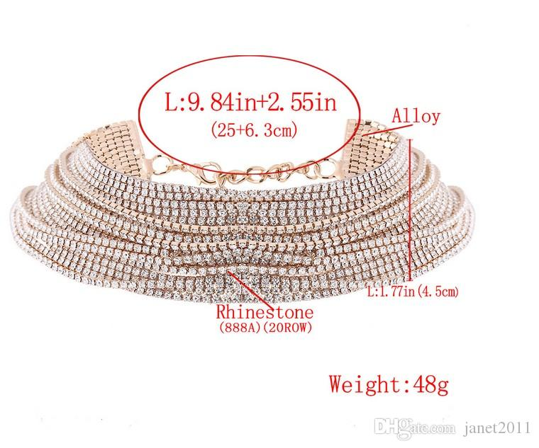 Rhinestone Chokers 20 Rows Gold/Silver Filled Multi Layer Full Rhinestone Chokers Necklaces Gift Idea For Ladies