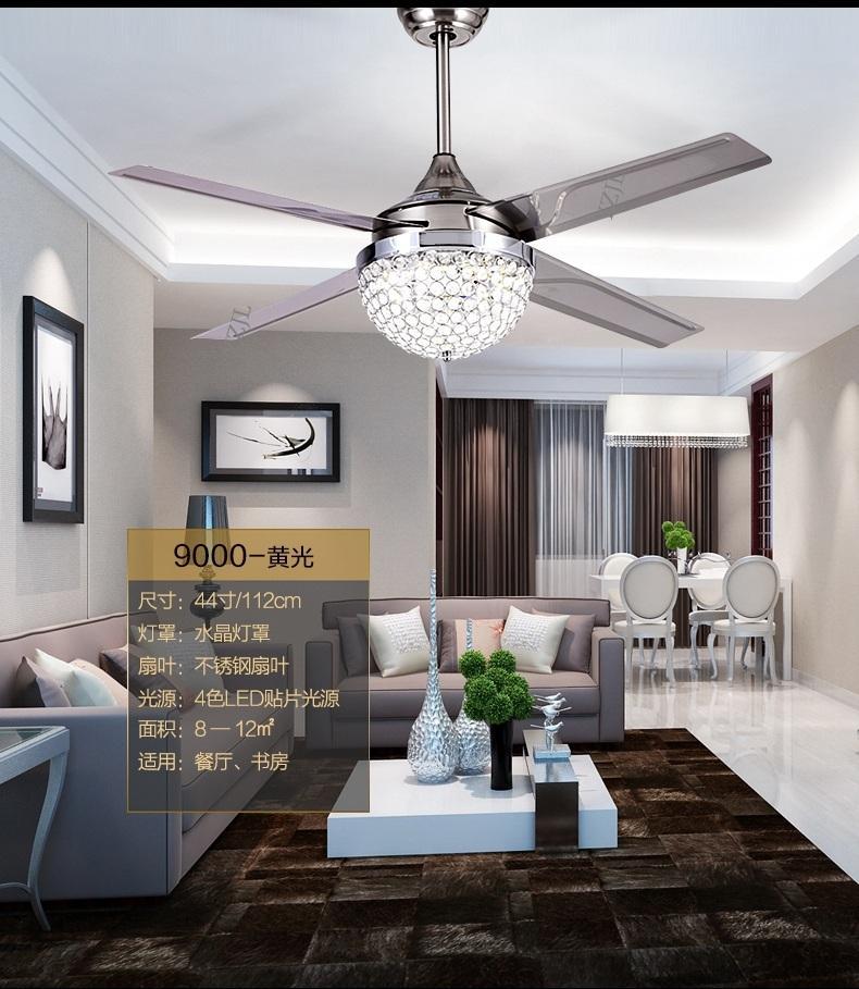 Fumat Led Ceiling Fans Crystal Light Dining Room Living: 2019 Fan Ceiling Pendant Modern Crystal Ceiling Pendant