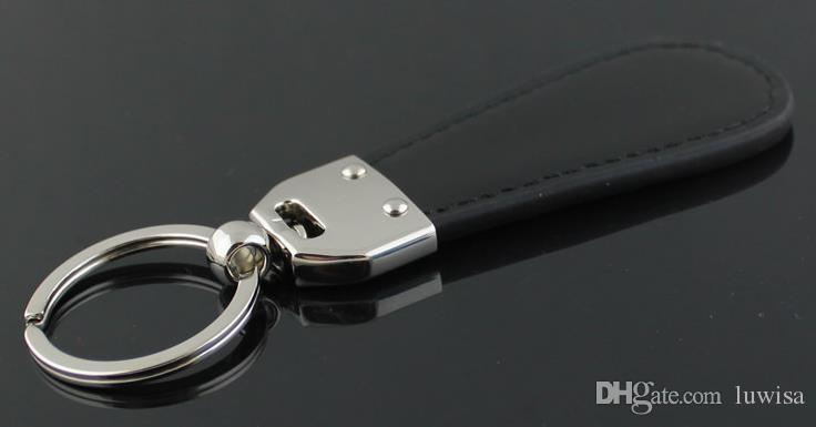 Creative hommes chrysler porte-clés porte-clés en cuir goutte d'eau en voiture clés de la voiture pour les hommes plaqué argent clé