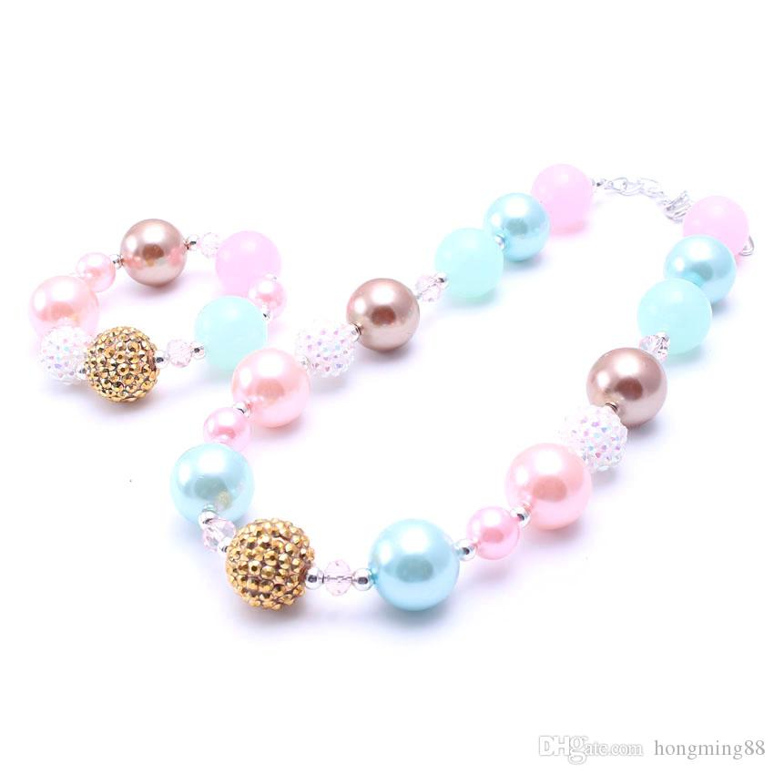 MHS.SUN Blue+Pink Color Necklace&Bracelet Headband Set Birthday Party Gift Toddlers Girls Bubblegum Baby Kid Chunky Necklace Jewelry