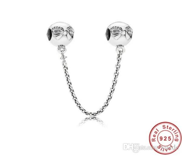 Belle gioielli autentico Argento 925 branello Pandora fascino pavimenta Ispirazione sicurezza perline di cristallo perle a catena