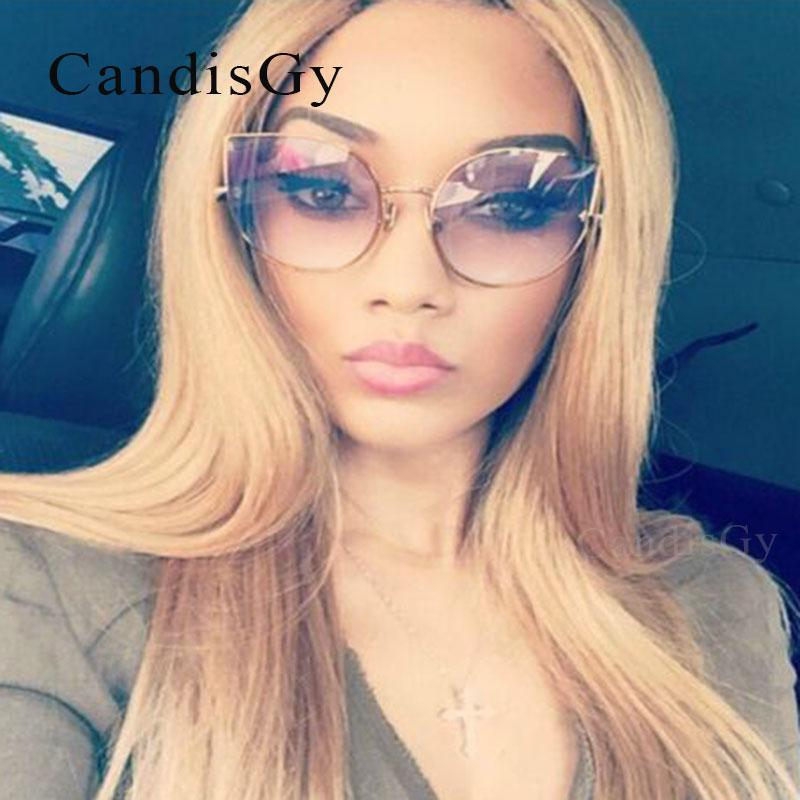 d1943c0695 Wholesale CandisGY Hipster Clear Eyeglasses Cateye Mirror Oversized  Sunglasses Brand Designer Women Mirror Lady Sun Glasses Metal Frame  Sunglasses For Women ...