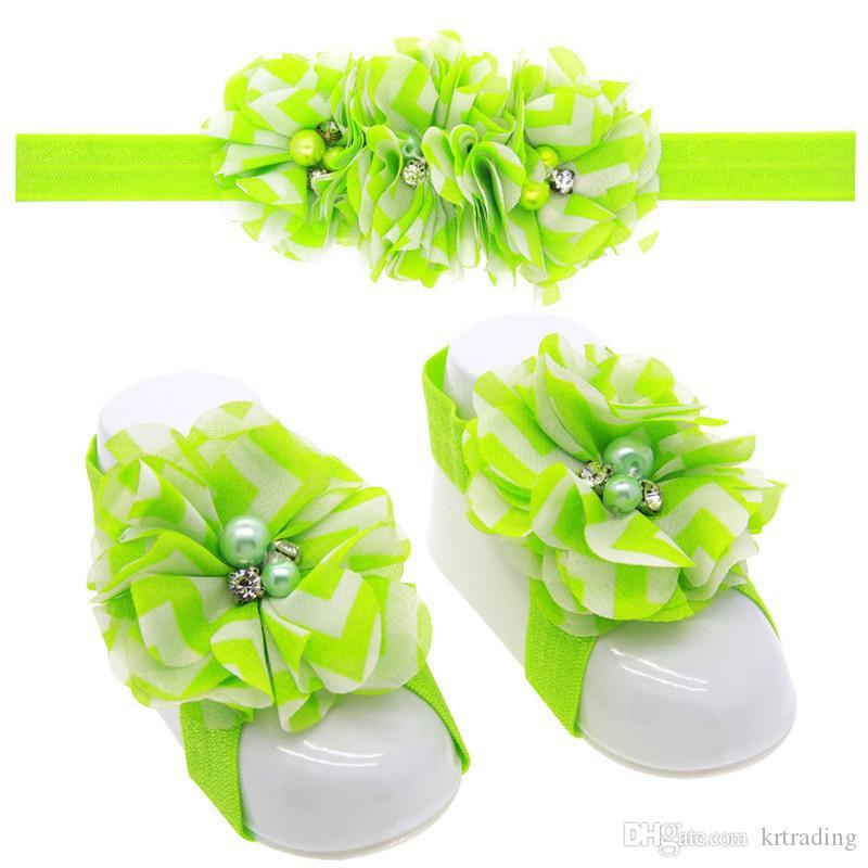 i del fiore delle neonate Hairband set fascia ed il fiore chiffon dei sandali a piedi nudi neonati carino scarpe fiori coprono puntelli fotografici