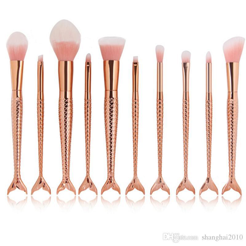Sirena Brush 10 unids Rainbow Maquillaje Pinceles Set Crema Cara Power Pinceles Kits Multiusos Belleza Rainbow Cosmetic Brush Kits
