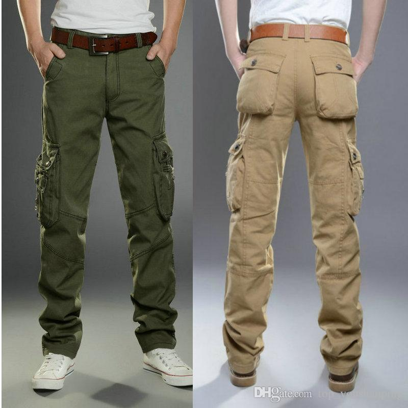 f24d48f4e073e Compre Pantalones De Hombre Moda Pantalones De Carga Ocasionales Hombres  Vestir Algodón Primavera Verano Hombre Ropa Pantalones Largos Rectos  Pantalón De ...