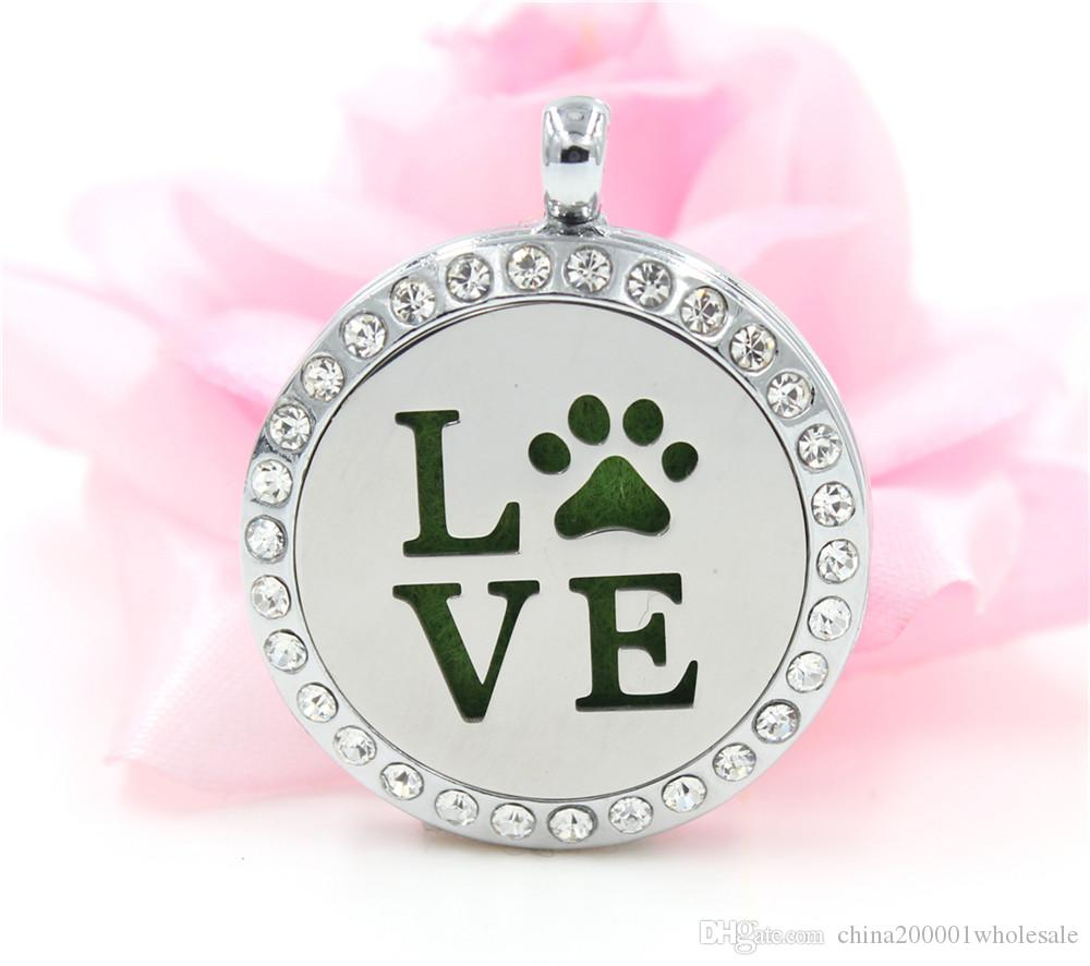 Love with paw silver/gold/rose gold 30mm Aromatherapy Perfume Essential Diffuser Locket Floating locket As Gifts free necklace & pad  XX10