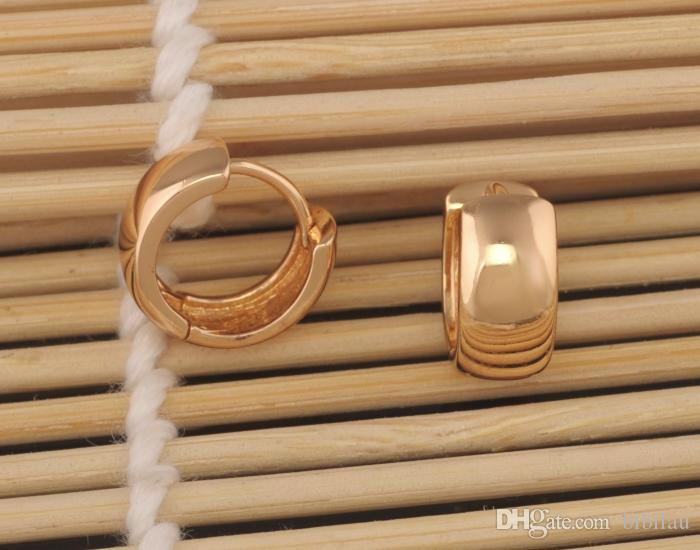 302E Precio especial Pendientes de aro liso 15x6 mm Mujeres llenas de oro de 18 k No hay piedra para siempre Estilo clásico