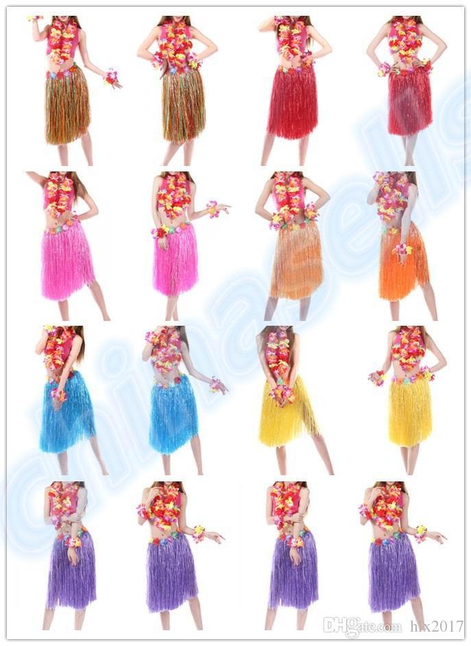 Plastic Fibers Women Grass Performance Skirts Hawaiian Hula Skirt set cheerleaders costumes Ladies Dress Up Stage Wear 60CM