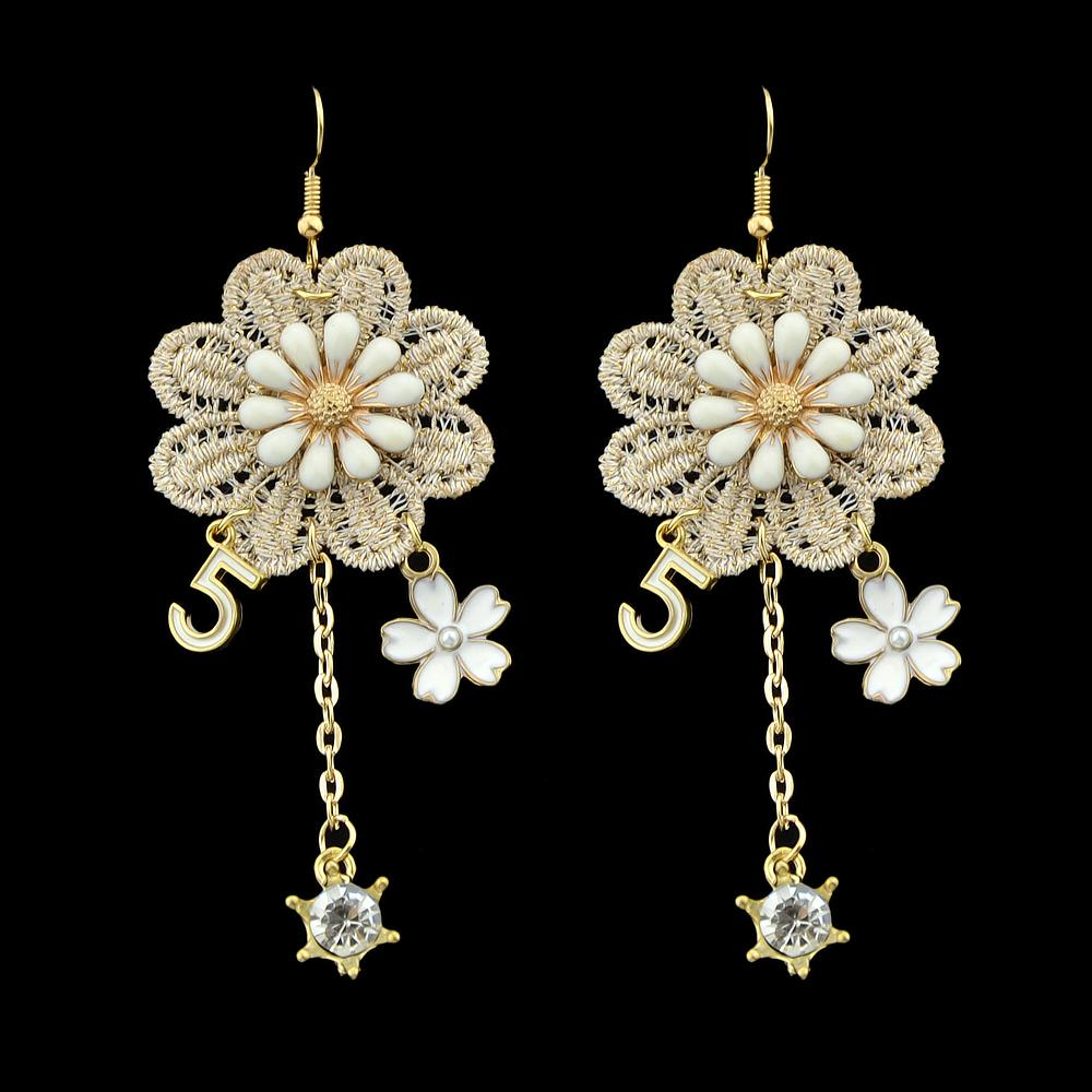 Gold Color Long Chain With Lace Enaml Rhinestone Flower Pattern Drop