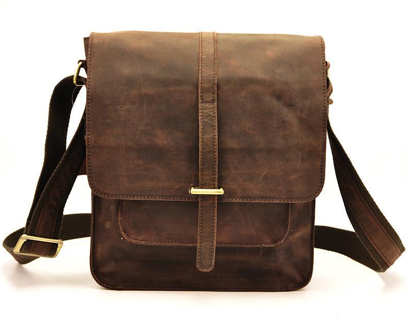 Men Shoulder Bag IPad Shoulder Bag Crazy Horse Leather Handmade Top ... 7c146a5b148e1