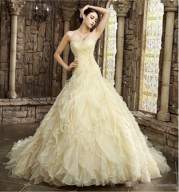 Großhandel 2017 Gelbe Hochzeitskleider Online Bunte Brautkleider ...