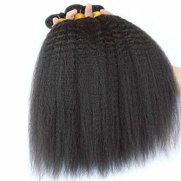 Grau 8A tecer malásia virgem kinky em linha reta 3 pacotes malásia cabelo luz yaki cabelo tece trama kinky yaki