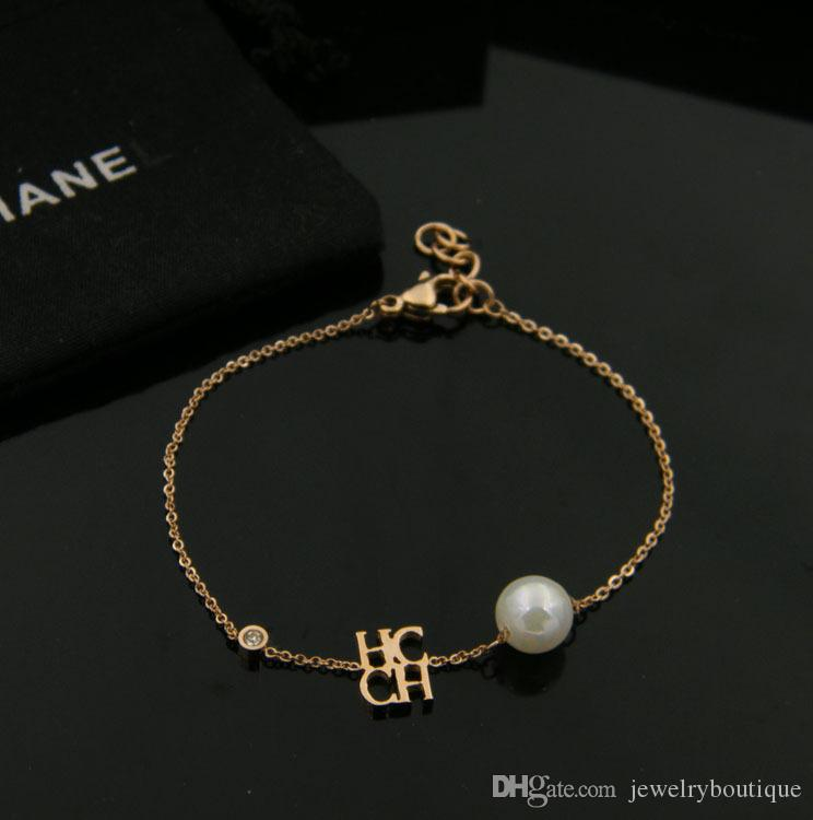 New arrival 316L stainless steel chain with pearl beads for chc and diamond for women and mother's day gift jewelry PS5283